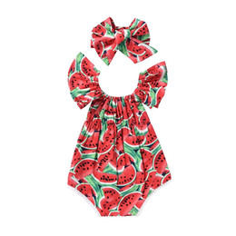 newborn gift sets for girls 2019 - Sleeveless Romper Set for Baby Girls Watermelons Printing Toddler Girls Summer Bodysuits with Hairband Gift Set Newborn
