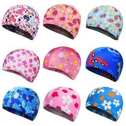 $enCountryForm.capitalKeyWord Australia - Children Kids Unisex Polyester Elastic Swim Cap Cartoon Fruit Floral Colored Animal Anti-Slip Ears Protector Sports Swimming Hat