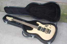 Discount mahogany wood for guitar - OEM Hot sale Top Quality 6 String natural wood color body Electric Guitar with CASE,with floyd rose and gold hardware -1