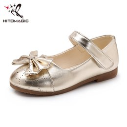 girls summer footwear Australia - HITOMAGIC Girls Leather Shoes For Girls Princess Shoes With Bow-knot Kids Gold Pink Summer Spring Footwear Wedding Hooks Heels