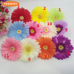 pink gerbera flower Australia - 100pcs Artificial flowers African daisy flower head gerbera for DIY hair accessories hair simulation silk flower wholesale decorative props