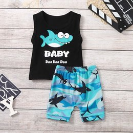 High Quality Vest Australia - High quality Infant Boy Kid Cartoon Shark Letter Printed Vest Tops+Shorts Outfits Set Dropping Summer Clothes Roupa Menino New