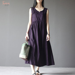 Loose Long Linen dress online shopping - Women Clothes Vintage O Neck Sleeveless Loose Cotton Linen Casual Solid Baggy Long Solid Vestido Plus Size Designer Summer