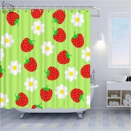 fresh fruit decorations 2020 - Red strawberry fresh fruit pattern polyester fabric shower room waterproof shower curtain home kitchen decoration curtai