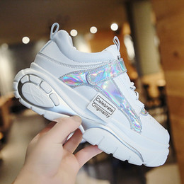 fashion hip hop girls NZ - INS 2019 Fashion High Top Chunky Sneakers Wedges Girl Lady Shoes Height Increasing Hook Loop Spring Shoes Hip Hop Star Runway