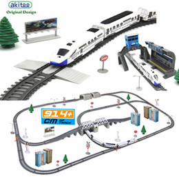 ElEctric rail train toys online shopping - Akitoo Simulation Of High speed Rail Motor Vehicle Rail Car Electric Train Harmony Bullet Train Children s Toy Mold J190525