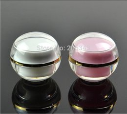 Acrylic cosmetic jAr white online shopping - 5g pink pearl white ACRYLIC ball jar with gold line cosmetic container cream jar Cosmetic Jar Cosmetic Packaging