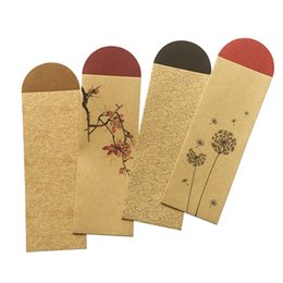wholesale blank bookmarks Australia - Kraft Paper Bookmark Packing Bag Chinese Retro Style Blank Bookmark Cover Case Wholesale