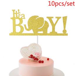 $enCountryForm.capitalKeyWord Australia - 10pcs set It's A Boy Cupcake Cake Toppers Elephant Cake Flags Kid Birthday Party Baking Decoration Supplies Baby Shower Mom Love