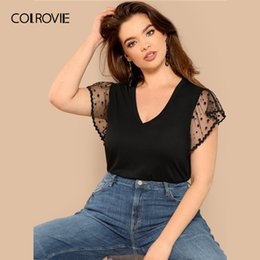 $enCountryForm.capitalKeyWord Australia - Colrovie Plus Size Black Mesh Contrast Flutter Sleeve V-neck Casual T-shirt Women Tops 2019 Spring Short Sleeve Elegant Tee SH190720