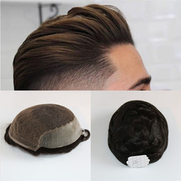 Indian Hair Wigs For Man Australia - Q6 Base Custom Mens Toupee High Quality Hairpiece Human Hair Men Toupee Indian Hair Replacement System Prosthesis Wigs For Men