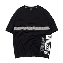 9b70bfac 2019 Spring and Summer New Fashion Reflective Strip Loose Overize Men's  Short-sleeved Couple T-shirt