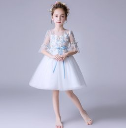 Lolita Flared Dress Australia - Flower girls dresses kids stereo flower embroidery Bows belt lace tulle tutu dress children lace gauze flare sleeve princess dress F7162