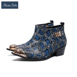 rubber metal bonding Australia - Christia Bella Men Printing Ankle Boots Fashion Autumn Winter Real Leather Mid Heel Metal Pointed Toe Designer Formal Boots
