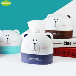 $enCountryForm.capitalKeyWord Australia - Wholesale- Cute Polar Bear Roll Paper Holder Cartoon Storage Box Home Office Desktop Plastic Tissue Container Hanging Paper Organizer