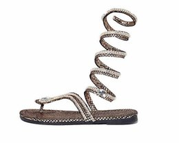 $enCountryForm.capitalKeyWord Australia - 0392 - 2016 New Snake Shape Women Flat Sandals with Rhinestones Fashion Gladiator Flip Flops Girl Trendy Sandals Free Shipping