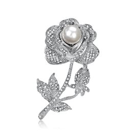 694c0e81584 2019 Fashion Rose Flower Brooch Pin for Clothes Cute Pearl Pins and Brooches  for Women New Rhinestone Brooches Badge for Party