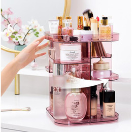 360-degree Rotating Cosmetic Storage Box Make-up Organizer Adjustable Transparent Storage Box Double-layer Lipstick Storage Rack T200115 on Sale