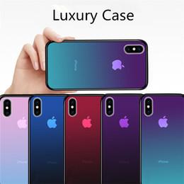 Chegou novo claro caso de vidro temperado para iphone xs max xr 7 8x6 plus gradiente de cor azul ray aurora pele de volta telefone capa venda por atacado