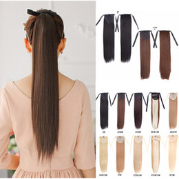 "synthetic hair drawstring ponytail Canada - Alileader Synthetic Ponytail Long Straight Hair 16"" 22"" Clip Ponytail Hair Extension Blonde Brown Ombre Hair Tail With Drawstring"