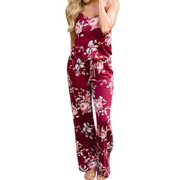 $enCountryForm.capitalKeyWord UK - Free Ostrich 2019 Summer Boho Women Floral Sleeveless Holiday Long Playsuits Rompers Spaghetti Strap Jumpsuit Women D1135 Y19051601