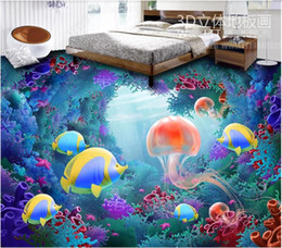 Discount underwater painting - 3d pvc flooring custom photo Dream Underwater World Jellyfish 3D Floor Painting 3d wall murals wallpaper