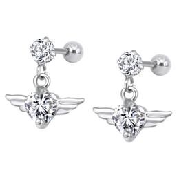 $enCountryForm.capitalKeyWord Australia - Stainless Steel Ear Bone Nails Micro-inlaid Zircon Ear Studs Female Fashion Wing Shaped Earrings Body Piercing Jewelry