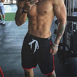 Polyester Gym Shorts Australia - Brand Summer Mens Shorts Knee Length Fitness Shorts Bodybuilding Solid Casual Joggers Workout Crossfit Gyms Shorts Sweatpants