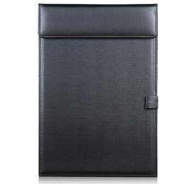 Pen Boards UK - Wholesale- Magnetic Office Desktop Leather A4 File Paper Clip Folder Drawing & Writing Clip board Tablet Pad With Pen Holder Black A206