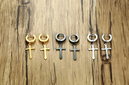 Wholesale Punk Men Stainless Steel Cross Earrings Simple Gold Black Silver Color Men's Hoop Earring Fashion Motor Biker Rock Party Jewelry