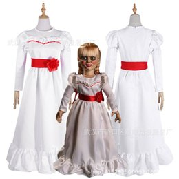 Frauen-Kind-Kind-Halloween-Kostüme ConjingDoll Annabelle weißes Kleid Horror Scary Female tragen Cosplay Abendkleid trajes de mascote im Angebot