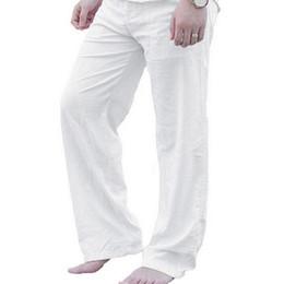 c60795d33d53e MoneRffi Men Loose Pants Autumn Fashion Solid Plus Size Streetwear Trousers  Casual White Linen Elastic Waist Straight Mens Pants