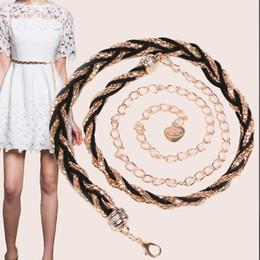 $enCountryForm.capitalKeyWord Australia - Maxi Women's Alloy Braided Belt Chain, Adjustable Narrow Gridle Band for Women Wear with dress, Joker fashion Belt