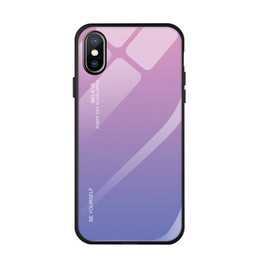 Glasses Case Material Australia - Gradation glass anti fall mobile phone shell Case of the iPhone X XS 6 7 8 Plus Silicone material