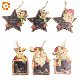 Christmas Diy Pendants Australia - 6PCS Cute Christmas Wooden Pendants Ornaments DIY Wood Crafts Blackboard Gift for Xmas Tree Ornament Christmas Party Decorations
