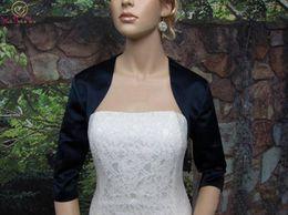 $enCountryForm.capitalKeyWord NZ - High end customization Half Sleeve Latest Style Women Wraps Elegant Black Bolero Party Jacket Satin Evening Dress Wedding Formal Shawl Brid