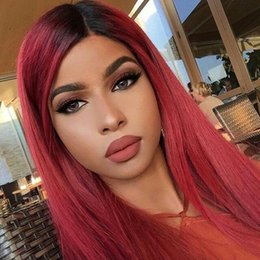 full lace human hair red 2019 - Full Ombre Red Lace Human Hair Wigs For Black Women Straight Virgin Malaysian Glueless Preplucked Ombre Red Lace Front W