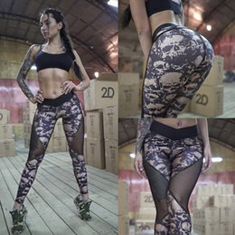 Leggings Woman S Skull Australia - Normov Summer Mesh Skull Women Push Up Workout Printed Legging Femme Casual Patchwork Leggings 2 Color S-xl Q190509