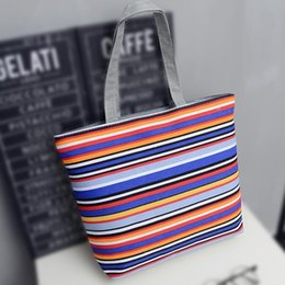 Purple Tote Bags Wholesale Australia - Top-handle Bags Women Shoulder Bag Canvas Fashion Stripe Tote For Lady Casual Purse Shopping Handbag Sac A Main Women Bag