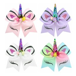 Hair bows 12 online shopping - Baby Unicorn Shape Hairbands girls Hair Bow hair accessories cartoon kids Sequin Ponytail Holder Elastic Hair Ties colors C6722