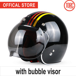 Jet Half Face Helmets Australia - TORC motorcycle helmet vintage open face bubble visor motorbike motocross jet retro helmet capacete DOT T50 vespa moto helmet
