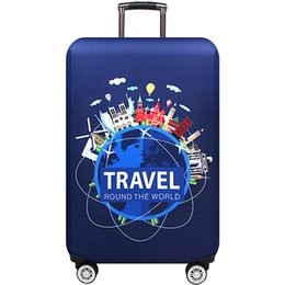 Chinese  New design Thicker Blue City Luggage Cover Travel Suitcase Protective Cover for Trunk Case Apply to 19''-32'' Suitcase Cover manufacturers