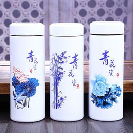 $enCountryForm.capitalKeyWord NZ - 320ml Creative Blue and White Porcelain Insulation Mug Stainless Steel Thermos Ceramic Liner Coffee Mugs Design Water Bottle