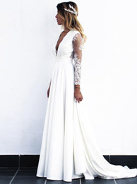 $enCountryForm.capitalKeyWord Australia - Satin Princess Summer Beach Transparent Long Sleeve White Lace A Line Sexy Deep V Neck Wedding Dresses Open Back Bridal Gowns Boho Romantic