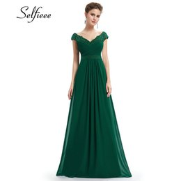 Polyester Chiffon Wedding Dress UK - Wedding Party Gowns Plus Size Ladies Lace Dresses Women's Long Elegant V-neck Sleeveless A-line Chiffon Formal Dress Vestidos Q190524