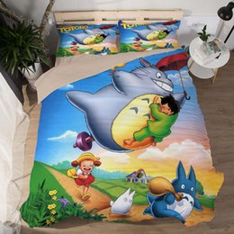 Colorful Modern Bedding NZ - Cute Cartoon Totoro Bedding Set Colorful Scenery Plant Print Duvet Cover Set Kids Lovely Bed Cover Pillowcase Home Decor 3pcs