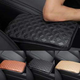 center console armrest covers NZ - 4 Colors Universal Car SUV Armrest Pad Cover Auto Center Console PU Leather Sponge Cushion Free Shipping CNS8139
