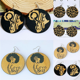 New wooden earrings geometric African black carved round earrings wood color earrings wholesale