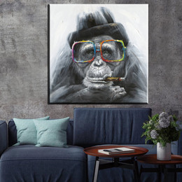 home decoration canvas prints Australia - 1 Piece Monkey Abstract Oil Painting Smoking Wall Art Canvas Prints Home Decor For Living Room Home Decoration No Framed