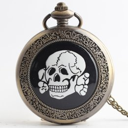 $enCountryForm.capitalKeyWord Australia - Wholesale Black White Skull Retro Large Pocket Watch Necklace Vintage Bronze Pendant Women Fob Watch with Necklace Chain